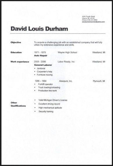 general laborer resume computer technology resume sample