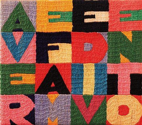 Alighiero Boetti (Italian, 1940–1994) Title: Avere fame di vento, 1989 Medium: embroidery on cotton