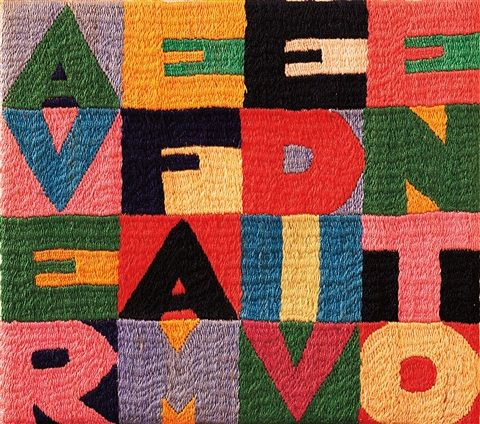 Alighiero Boetti (Italian, 1940–1994) Title: Avere fame di vento, 1989 Medium: embroidery on cotton