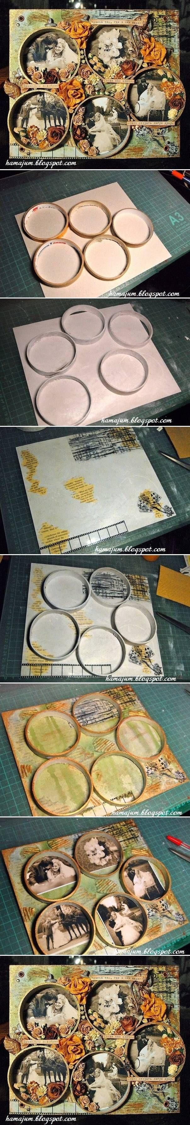 Usar rolo de fita durex vazio, pintar da cor desejada e usar como moldura de foto numa pagina bem interessante