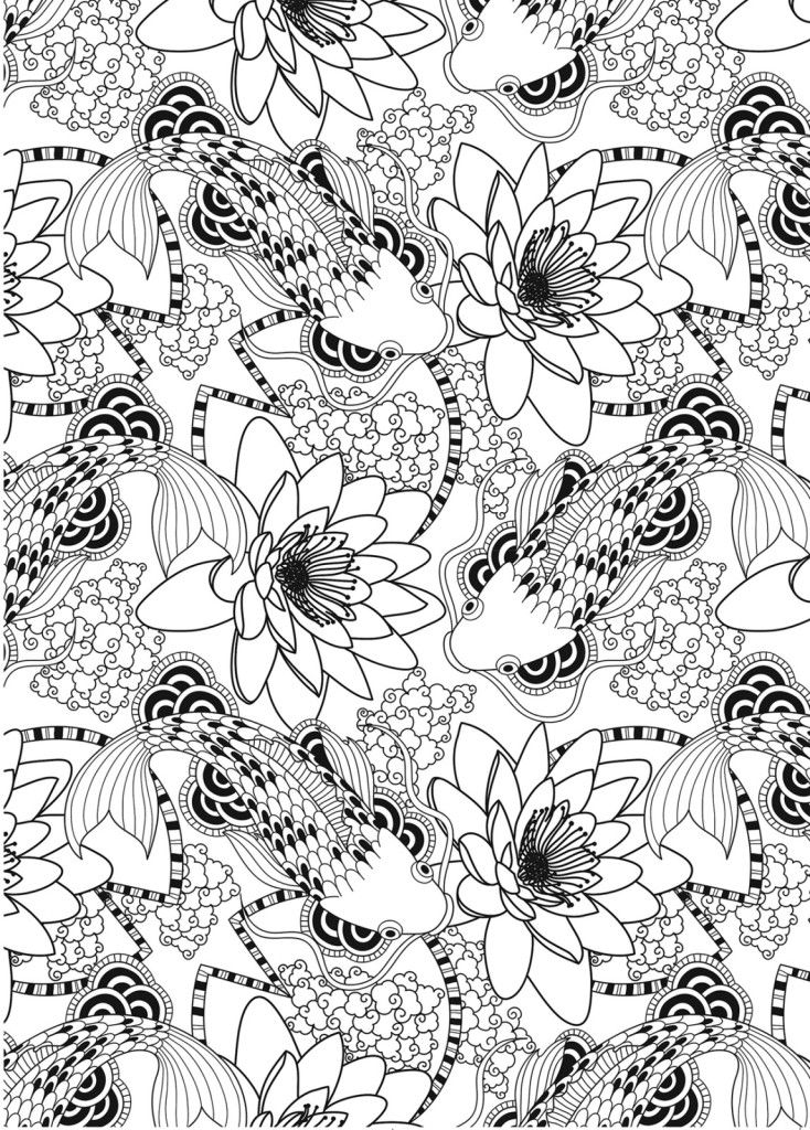 adult coloring wonderful koi fish pond pattern free download
