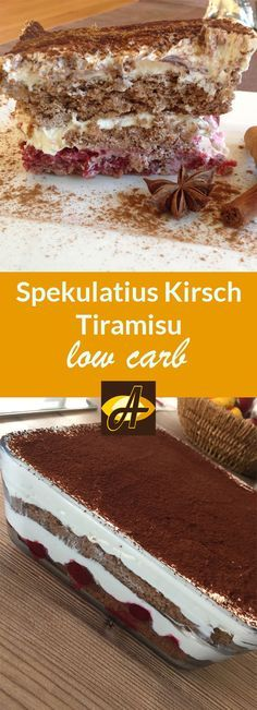 Rezept Spekulatius Kirsch Tiramisu lowcarb glutenfrei - Ideal als Dessert im Advent oder zu Weihnachten! Ein Traum mit toller Spekulatiusnote und mit einem fruchtigen Geschmack von Sauerkirschen! Schmeckt aber auch schon im Herbst!