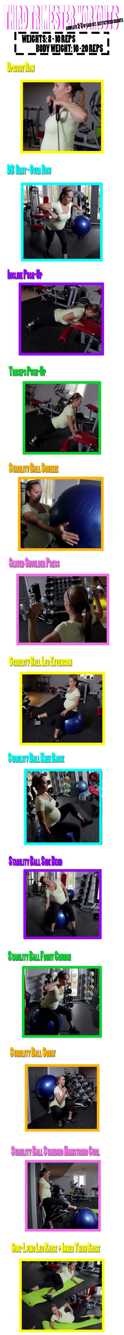 Trimester 3 Pregnancy Workout Video! Great for beginners too! Also a good workout regime for your travels. Click here for the video and Step by Step instructions: http://www.flaviliciousfitness.com/blog/2013/06/19/trimester-3-pregnancy-workout-video/