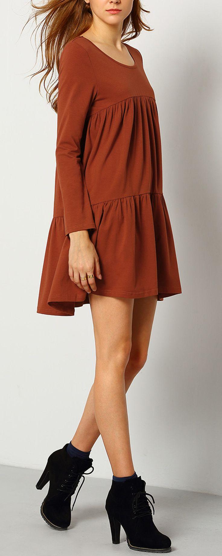 Orange Long Sleeve Casual Dress - Fashion Clothing, Latest Street Fashion At m.shein.com