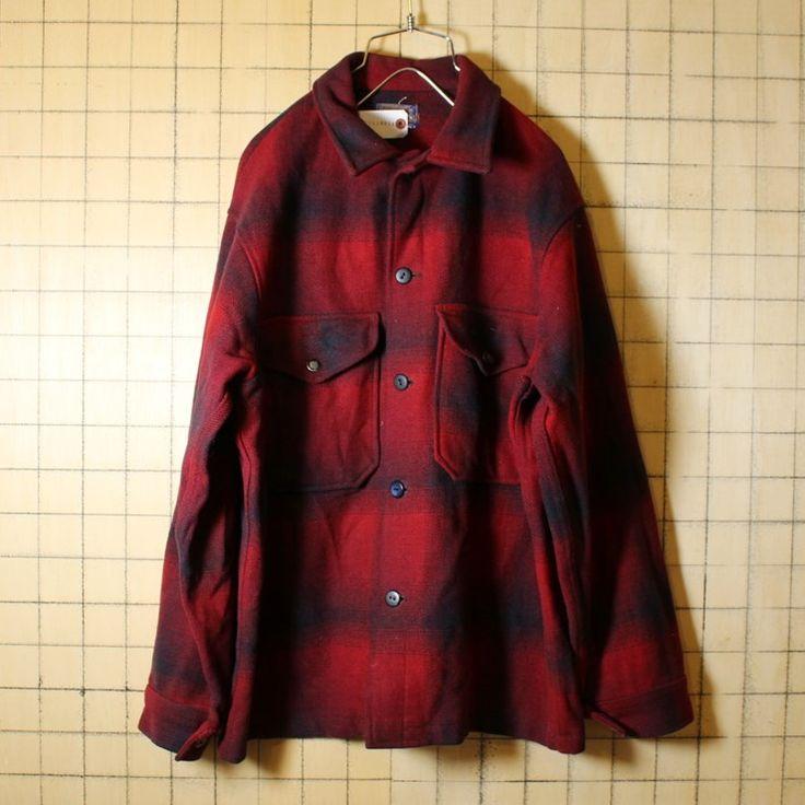 USA製 60s ビンテージ 古着 PENDLETON ペンドルトン チェック ウール ジャケット レッド ブラック メンズM