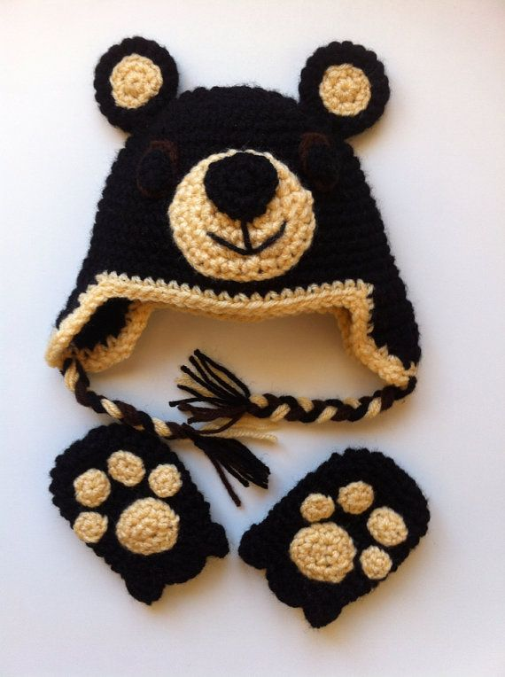 Black Bear baby hat & mittens set Baby hats, Black and Bears