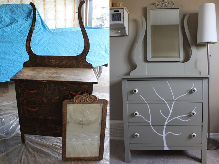 Handpainted Tree Dresser | Before and after of a DIY furniture refinishing project featuring a dresser with a handpainted tree. Click through to read more on this project as well as posts about architecture, interior design and sustainability at www.ofhou
