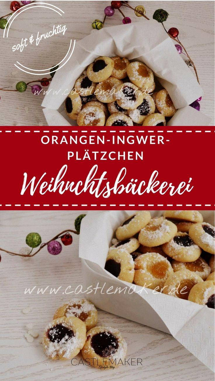 So fruchtig und so zart sind diese leckeren Orangen-Ingwer-Plätzchen auf Mürbeteigbasis. Mit der Füllung aus Marmelade sind sie besonders lecker und sehen zudem schön aus. Sie sind ähnlich wie Engelsaugen oder Marmeladenkekse. Das Rezept gibt es auf meinem Blog. #weihnachtsbäckerei #plätzchen