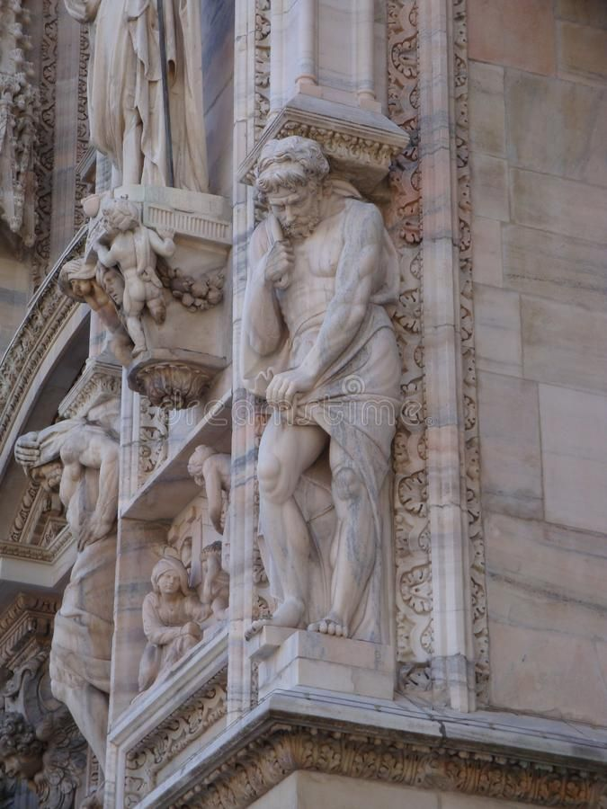 Photo about Details from the facade at Duomo - July 2017 - Milan - Italy. Image of santa, faith, maria - 111277845