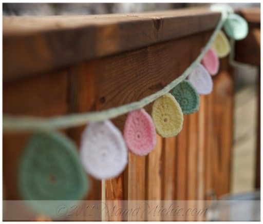 Crochet Easter egg garland.