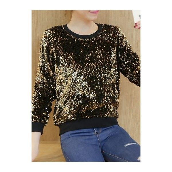 Long Sleeve Round Neck Gold Sequin T Shirt ($31) ❤ liked on Polyvore featuring tops, t-shirts, gold, round neck t shirt, brown long sleeve tee, sequin t shirt, long sleeve tops and sequin tee