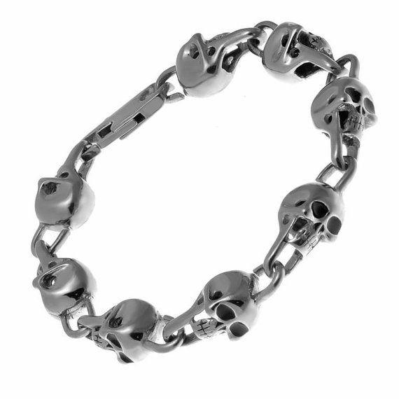Stainless Steel Skull Bracelet, Mens Bracelet, Unisex Bracelet, Skull Jewelry, Mens Skull Bracelet