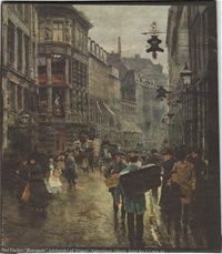 """""""Juleaften på Østergade"""" (Strøget) fra 1886 Københavnermaleren Paul Fischer  Efter billeder - www.lokkepublishing.dk"""