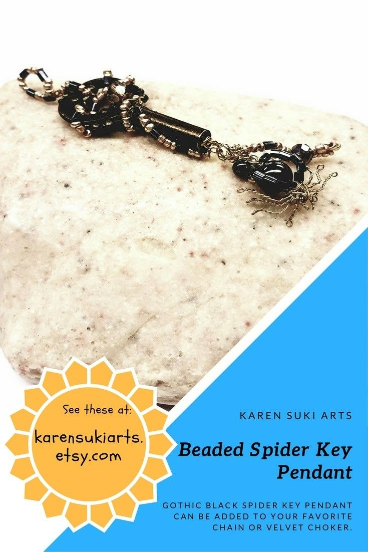 Enjoy this gothic witch's key and add a little creepiness to your outfit.  The treasure attached to this key pendant is guarded by a little black spider with brass legs.  Ready to spin its web and snare onlookers, this eye catching pendant can be strung on a chain, ribbon, or velvet choker.   $24.95