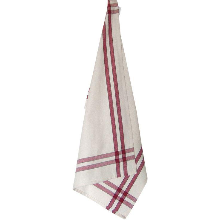 "Dunroven House Cream Tea Towel 20""X28""-Cranberry Stripe - cranberry stripe"