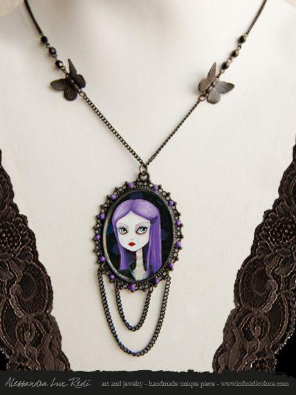 Cameo necklace Violet Dark  original by AlessandraLuxRedi on Etsy