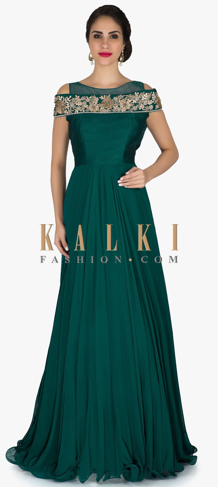 Teal green anarkali suit in cold shoulder with zardosi and gotta patch embroidery only on Kalki