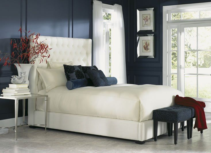 White Fabric Bedroom Chair: Carly Custom Bed By Jonathan Louis To Purchase Email