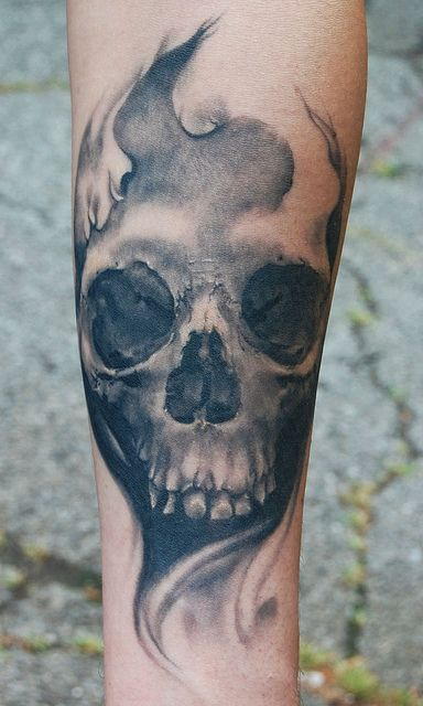 Healed skull. Give me more skulls. by Allen Tattoo, via Flickr