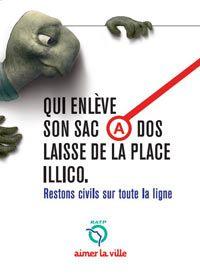 RATP Campagne de lutte contre l'incivilité dans les transports en commun - Publicis Conseil