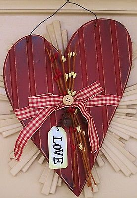 "NEW WOODEN HEART ""LOVE"" SPRING SUMMER DOOR WALL WREATH VALENTINES DAY DECOR"