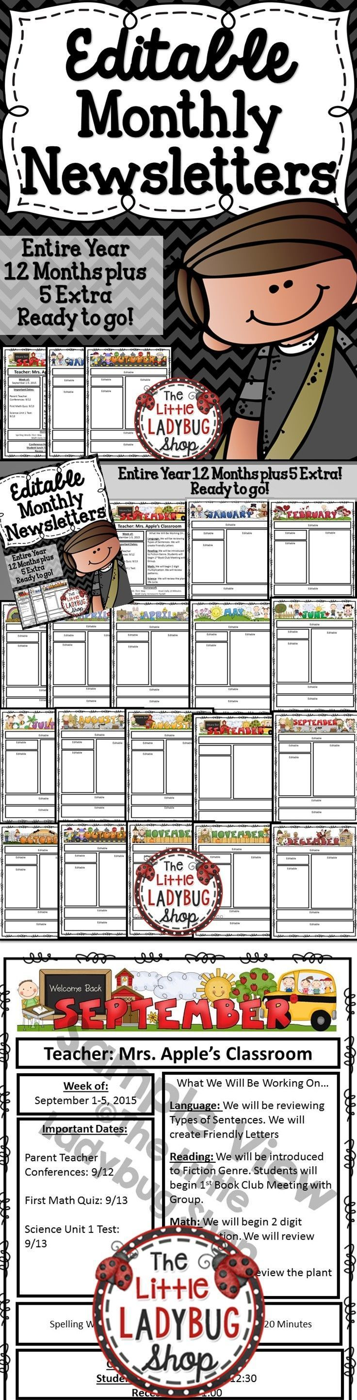 Monthly Class Newsletter Template {EDITABLE- Entire Year Bundle} | Newsletter | Monthly Newsletter Templates  Newsletter EDITABLE Templates with Monthly Themes, perfect for weekly/monthly communication with school, parents, and families.   ★Included★★  ★17 different templates, a different newsletter template for each month {plus 5 extra designs}