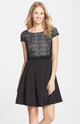 Betsey Johnson Laser Cut Scuba Popover Fit Flare Dress