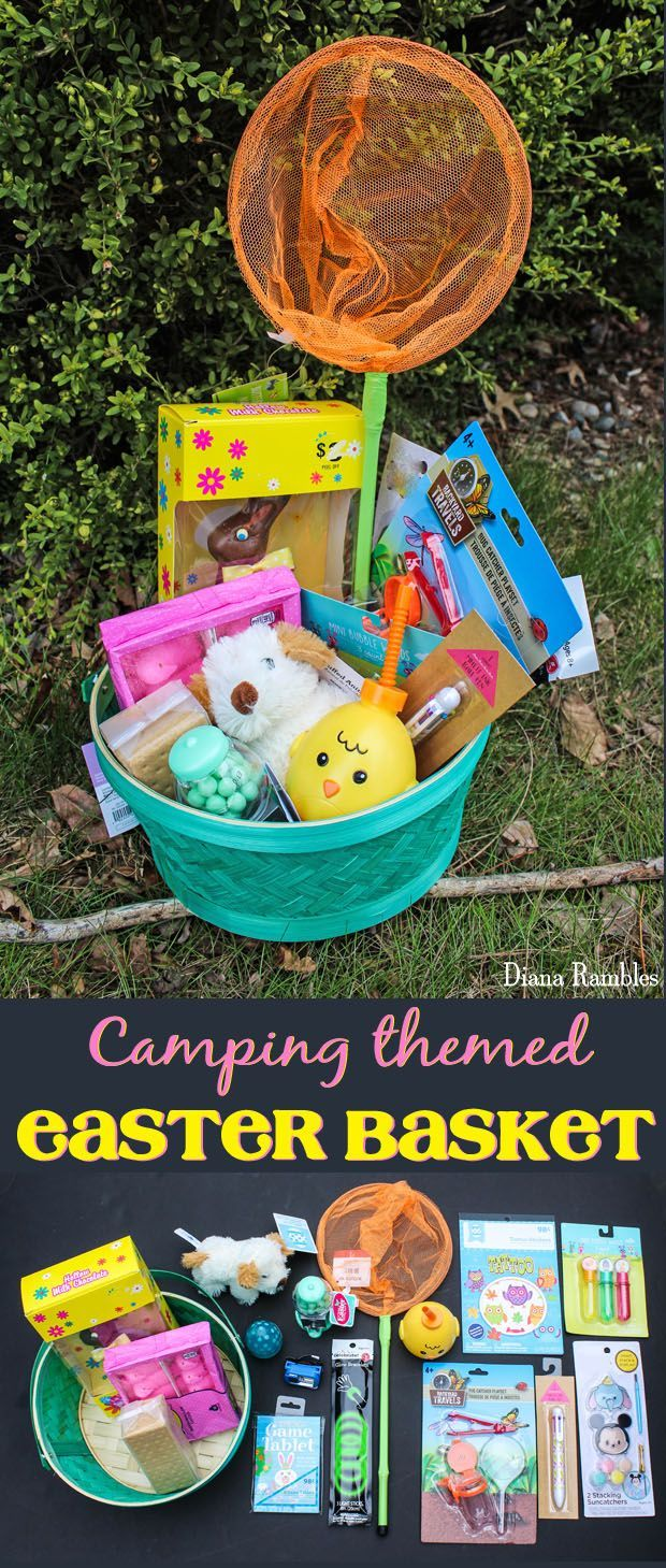 Camping-Themed Easter Basket - Does your child love to camp? Create a Camping Easter Basket for hours of fun at the campground. They will love the candy, activities and s'more supplies.