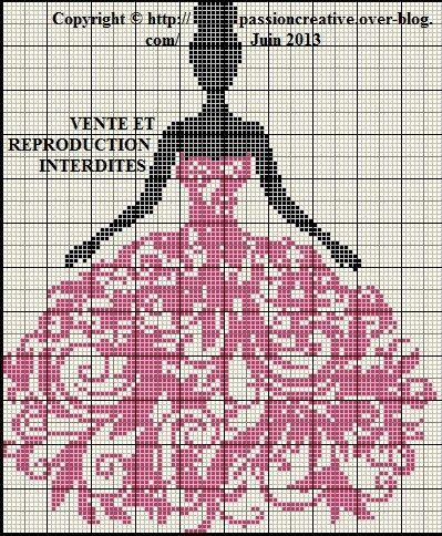 Grille gratuite point de croix : Femme et robe arabesque rose