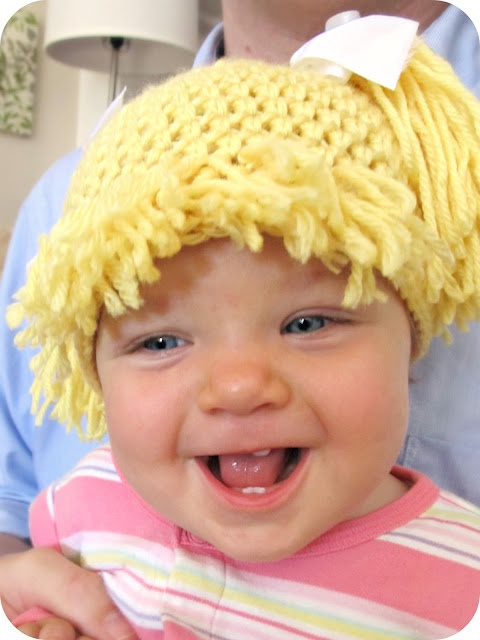 Cabbage Patch Kid hair - crochet a simple beanie and add bangs and a ponytail