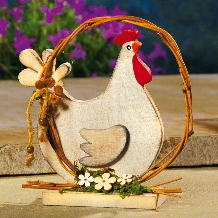 Tischdeko Huhn aus bemaltem Holz - …eine frische Dekoration für einen schön gedeckten Kaffeetisch. Holz, bemalt.