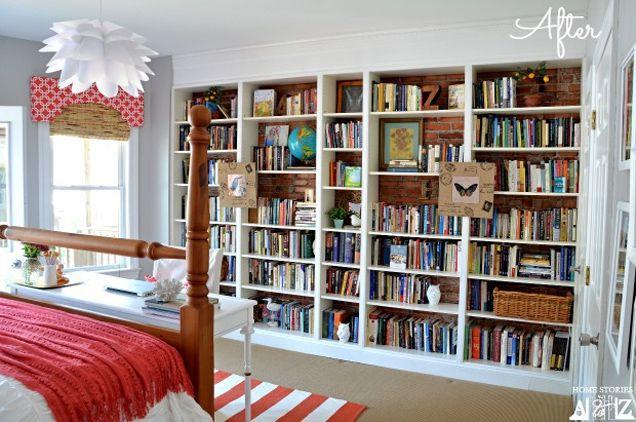 Wall-to-Wall Storage - http://www.ivillage.com/billy-bookcase-ikea-hacks/7-a-551231