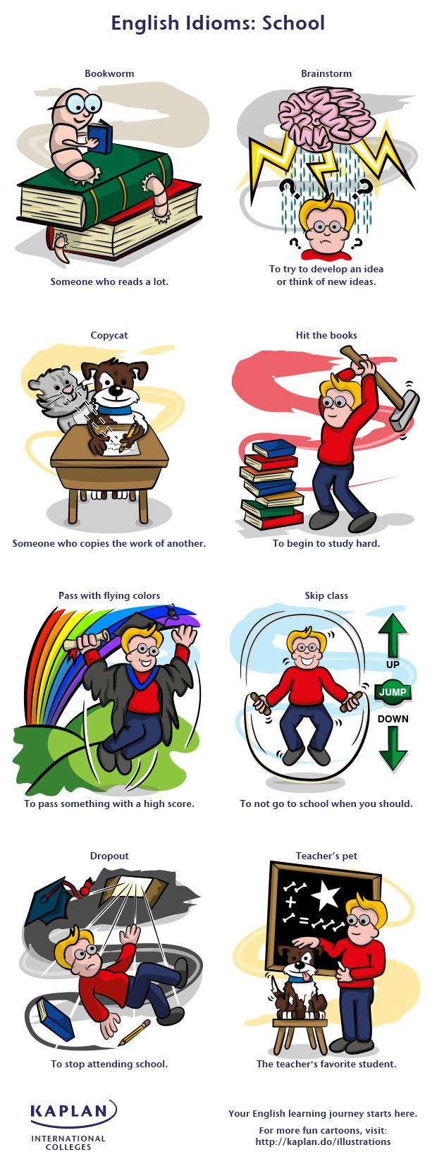 School idioms in English are popular with students and teachers alike. Have a look at our fun school idioms illustration!