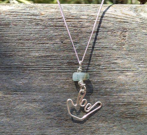 american sign language necklace with aquamarine stone  - ilysings.com