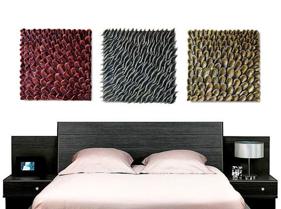 Large Set of 3 Square Wall Sculptures  Abstract by JeemadoDecor