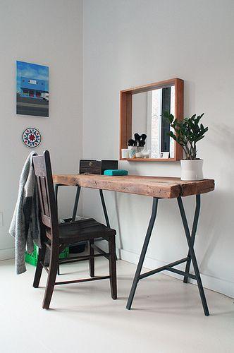 Reclaimed wood, Ikea trestles. Photo by Kristen Lubbe
