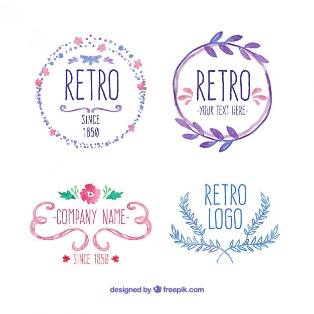 hand painted retro badges Free Vector