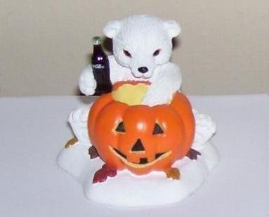 Coca Cola Polar Bear Cubs Halloween Pumpkin Figurine