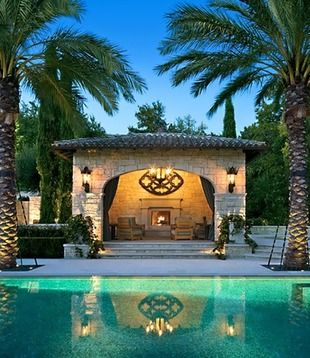12 Celebrity Pools to Envy - Who wouldn't want to hang out at Lance Armstrong's pool with its stone cabana, outdoor fireplace, and exquisite landscaping.