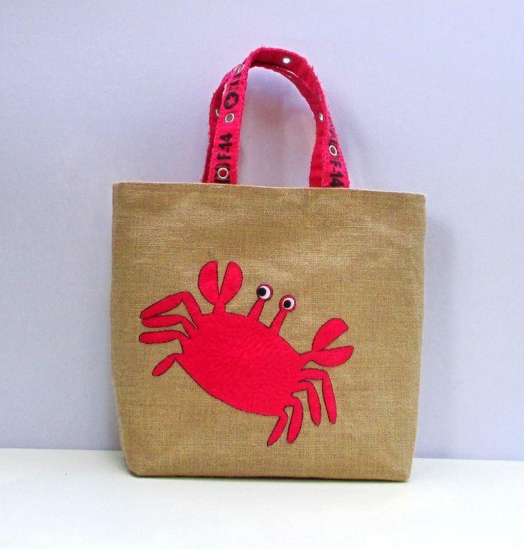 Excited to share the latest addition to my #etsy shop: Pink crab handmade summer jute tote bag, artistic, hand embroidered beach bag, boho style diaper bag http://etsy.me/2BXE3JP #bagsandpurses #beige #artfulbagbeach #embroideredsac #uniquehandmadebag #jutetote #handm