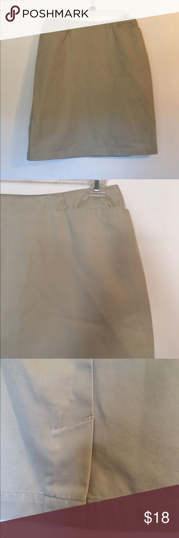 """Talbots 100% cotton khaki pencil skirt 21"""" length: machine washable. Has two pockets in front. Zipper and hook back closure. Like new condition. 3.5"""" slit in back. Talbots Skirts Pencil"""