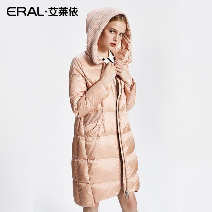 Eral女性の冬コート2017新しいブランドカジュアルニットパッチワーク暖かいロングパーカーダウンジャケット女性高品質ERAL16051-FDAB