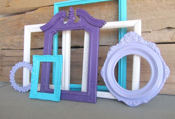 Purple Lilac Turquoise and White OPEN Frames Set of 7 by BeautiSHE                                                                                                                                                                                 More