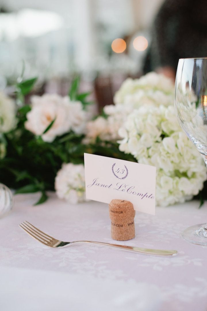 Photographer Hazelnut Photography How Chic Are These Cork Place Card Holders