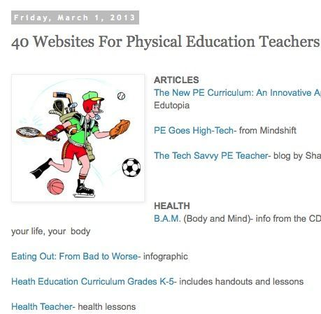 40 sites for Physical Education Teachers.  Sweet!