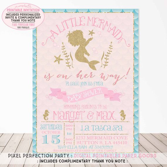 Mermaid Baby Shower Invitation Aqua Pink by PixelPerfectionParty                                                                                                                                                                                 More