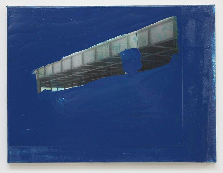 John Beech - Photo-Painting #92, 2015 / oil enamel, B/W RC photograph, PVA adhesive, canvas on wooden panel / 45.7 x 61 cm