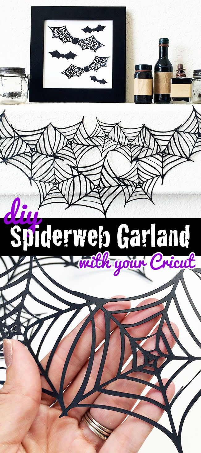 DIY Spiderweb garland designed by Jen Goode and made with Cricut