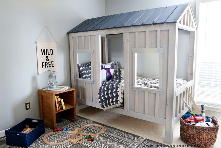 How to build a do-it-yourself RH Baby & Child-inspired cabin bed - plans by Ana White and tutorial by Jen Woodhouse.
