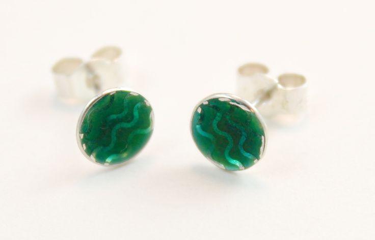 Green wavy patterned enamel silver stud earrings by imogenhose on Etsy